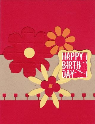 Red flower card, copied from page 106 in the catalog (my version!)