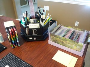 Craft table-markers, tools, scraps