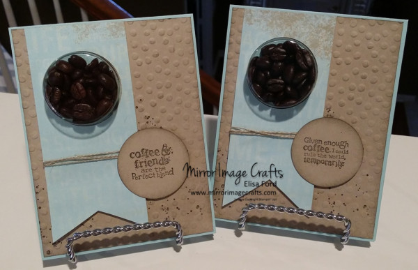 Coffee Bean Perfect Blend treat cup cards - Visit http://www.mirrorimagecrafts.com for details and more projects!